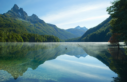 Perfect reflection of the mountains in the clear lake