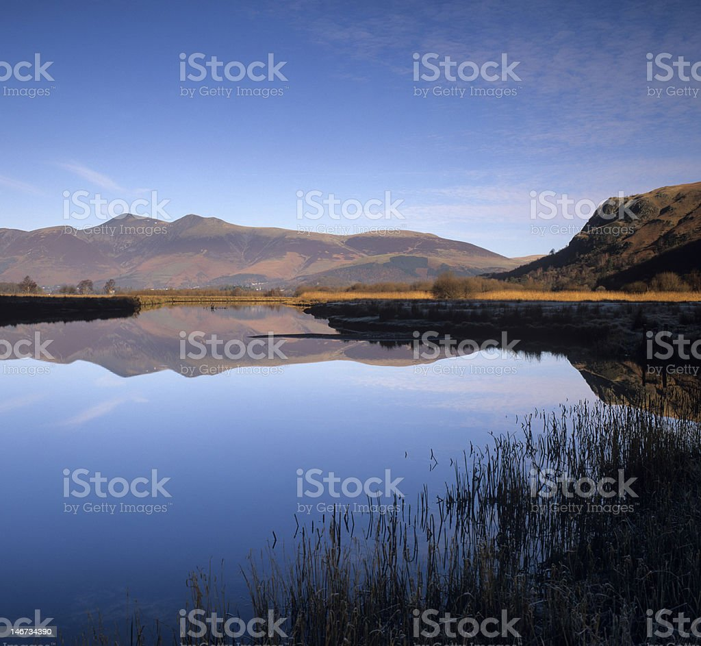 Perfect reflections at Derwent Water royalty-free stock photo
