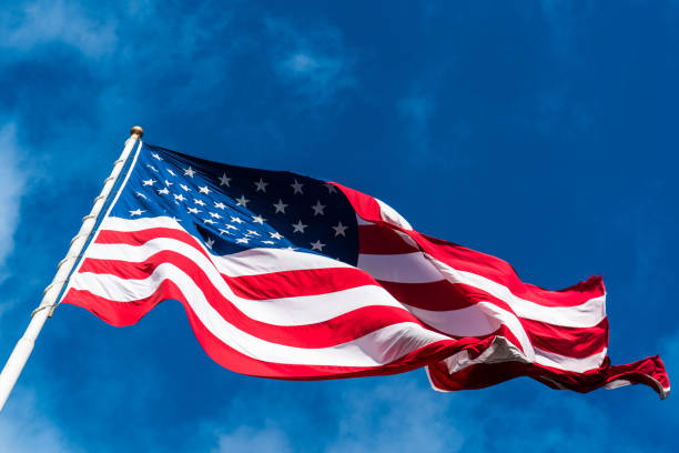 Perfect ripples and waves in American Flag stock photo