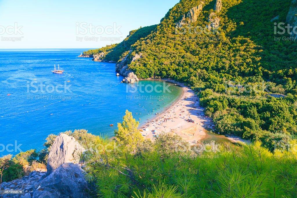 Perfect sandy beach in nature stok fotoğrafı