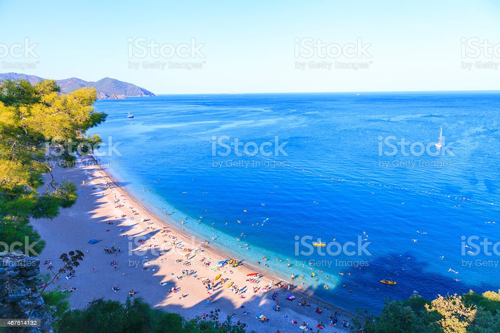 Perfect sandy beach in nature stock photo