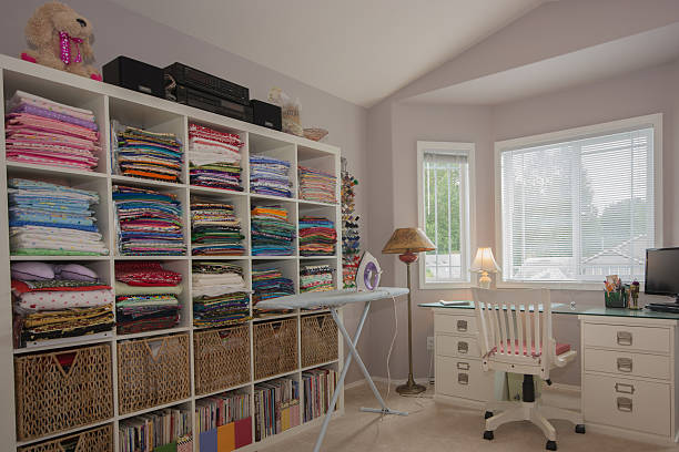 perfect sewing room - nähmaschinenschrank stock-fotos und bilder