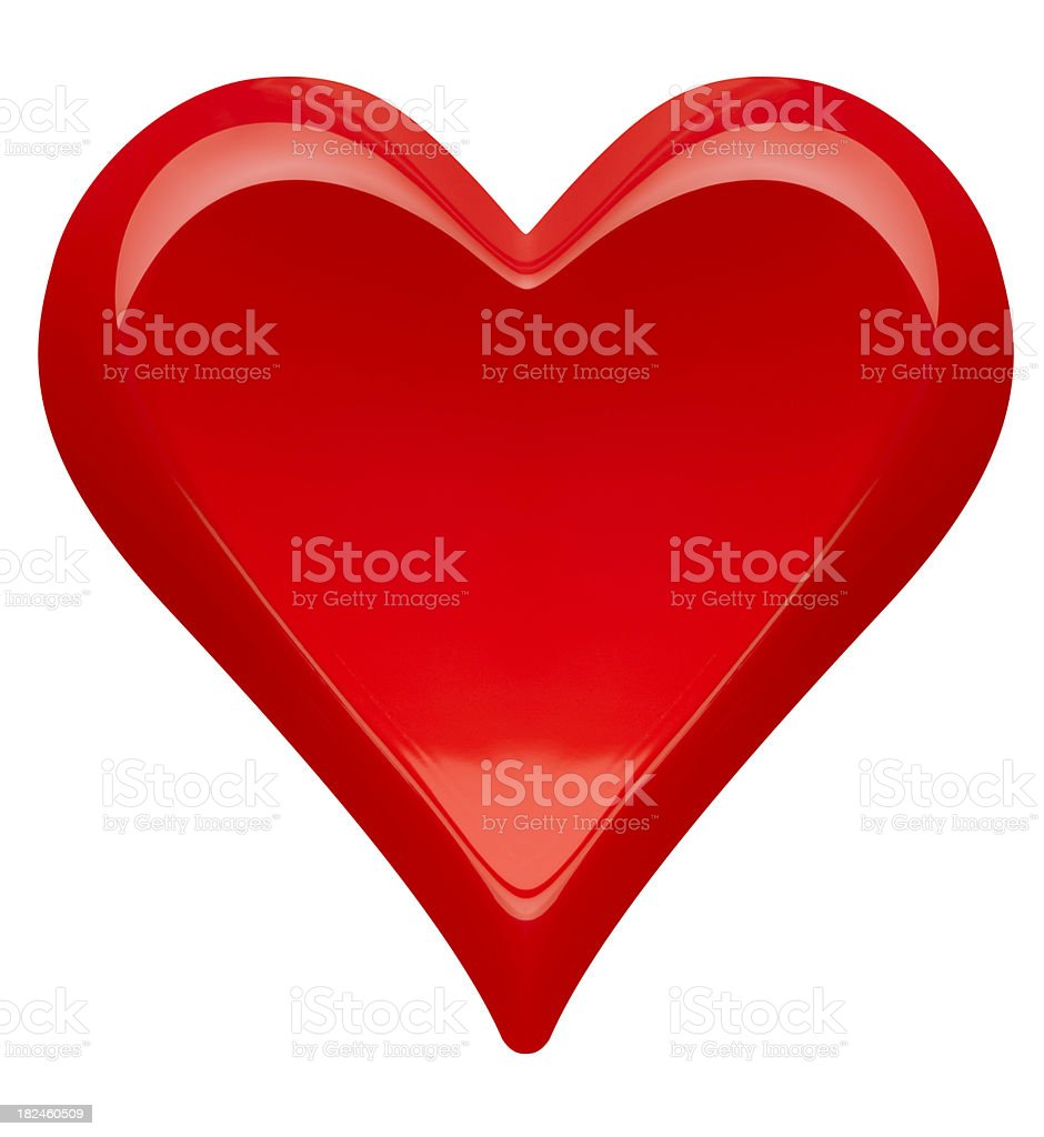 Perfect Shiny Red Valentine's Day Heart, White Background, Clipping Path royalty-free stock photo