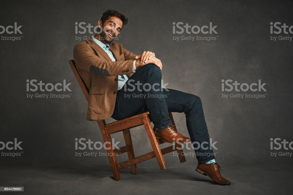 Perfect shoes and outfit, his ready to rule the day stock photo