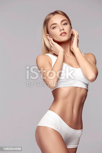 istock Perfect slim toned young body of the girl . 1060934556