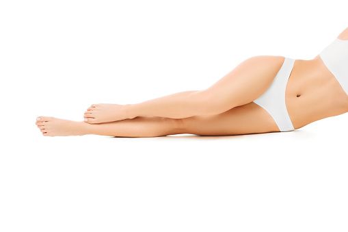 Perfect Smooth Womans Legs Without Hair After Laser Epilation Isolated On White Background - Fotografie stock e altre immagini di Adulto