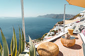 istock Perfect spot to drink your morning coffee - Oia, Santorini 1280501008