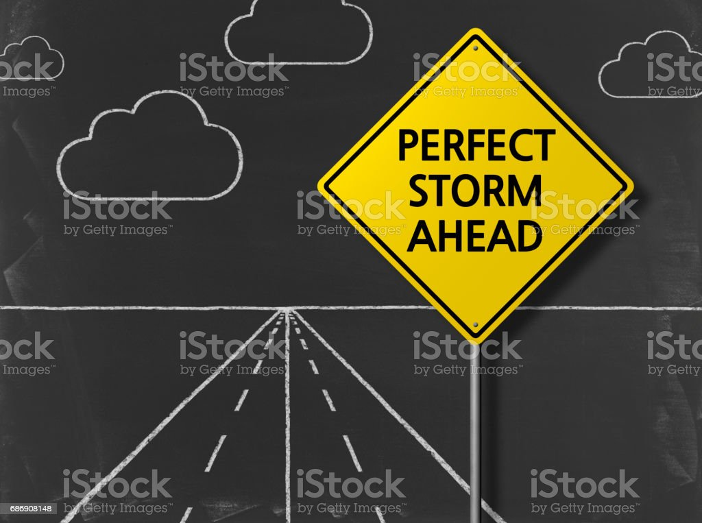 Perfect Storm Ahead - Business Chalkboard Background stock photo