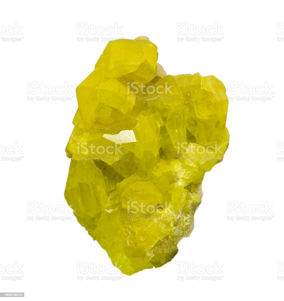 Perfect sulphur crystals isolated on white. stock photo
