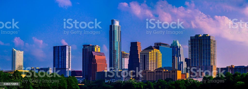 Perfect Sunrise Cityscape Austin Central Texas Bliss stock photo
