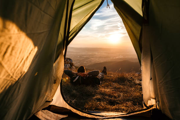 Perfect sunset in my tent stock photo