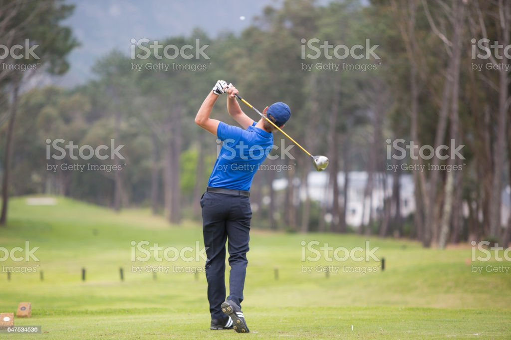 Perfect tee shot down the fairway stock photo
