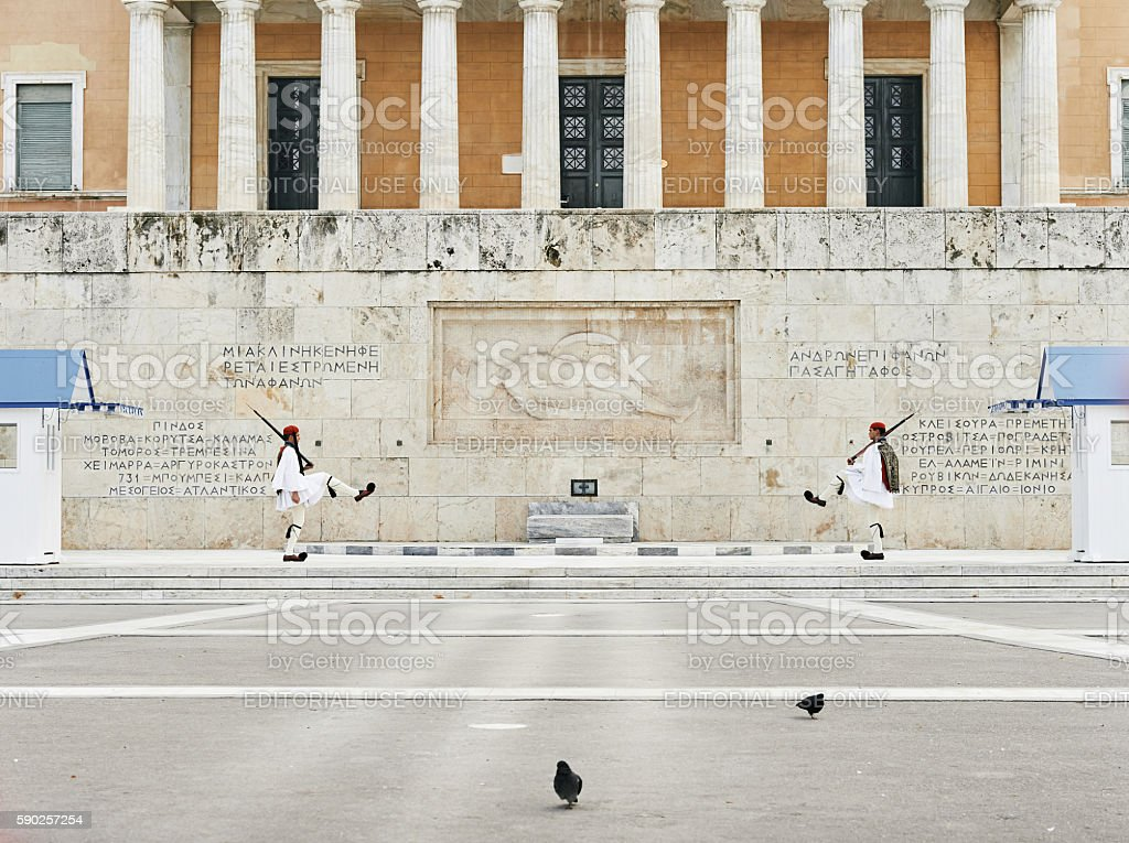 Perfect the coordination Evzones Athens Greece stock photo
