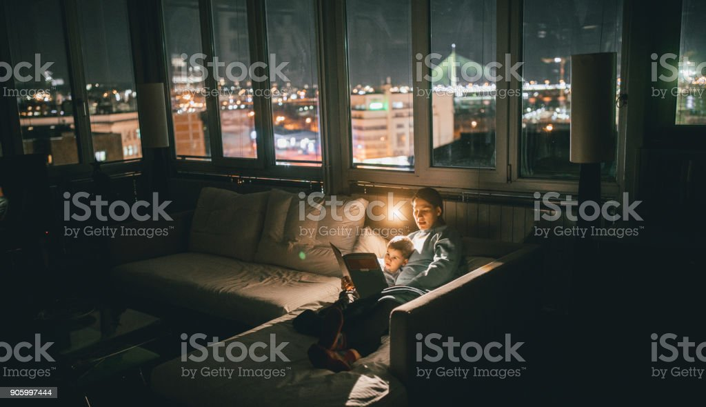 Perfect time for bedtime stories stock photo