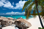 Panoramic view of Paradise white sand beach with coconut palm trees blue sky and Caribbean sea on Jamaica tropical island.