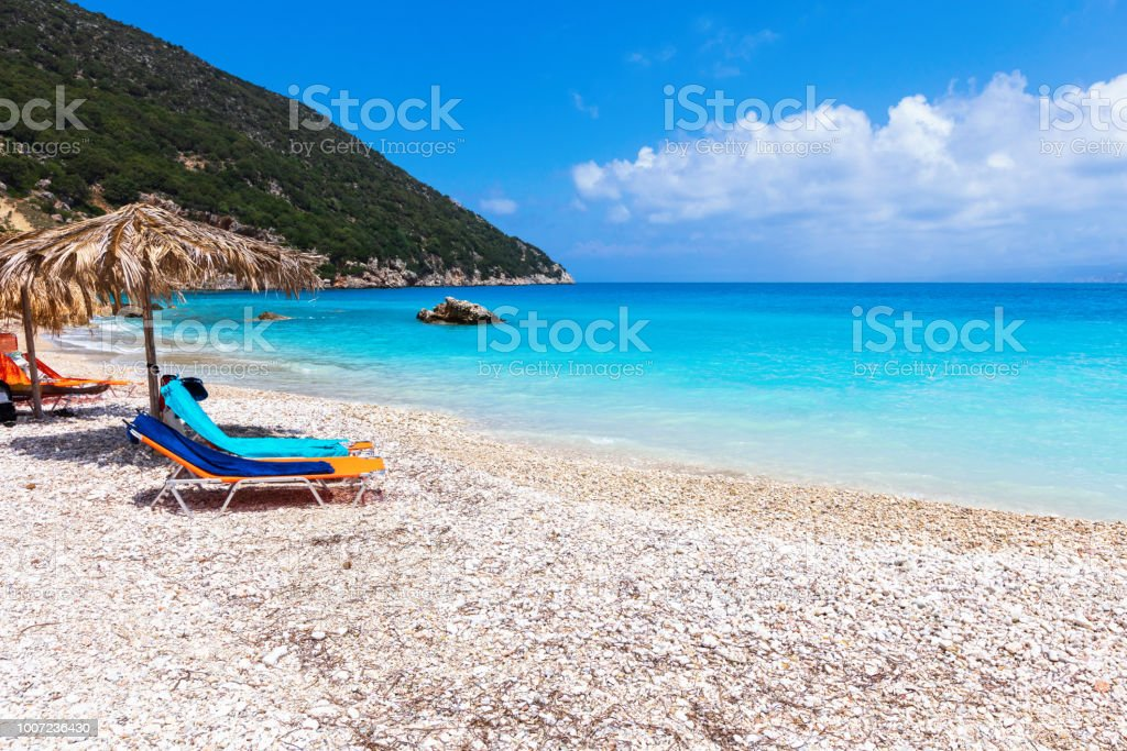 Perfect tropical beach with turquoise water stock photo