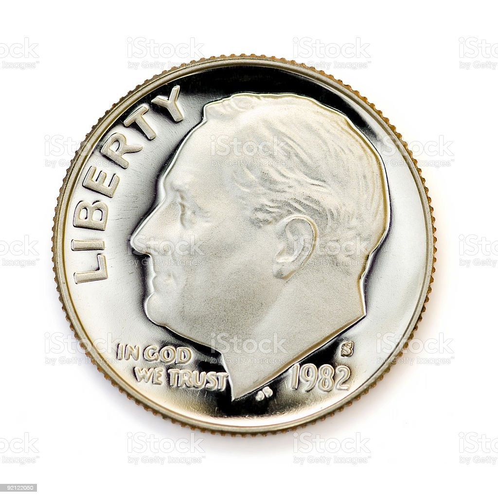 Perfect uncirculated dime royalty-free stock photo