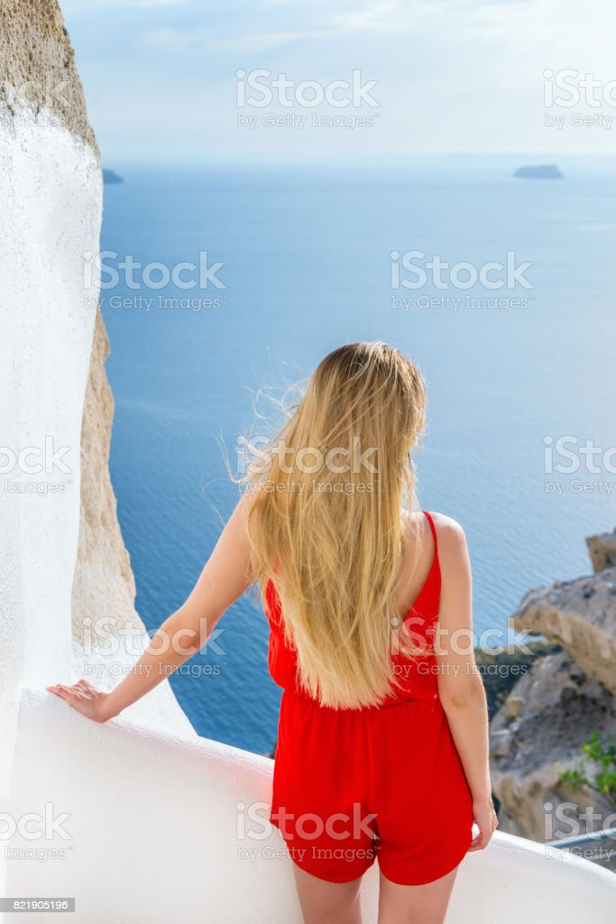 Perfect vacations in Santorini stock photo