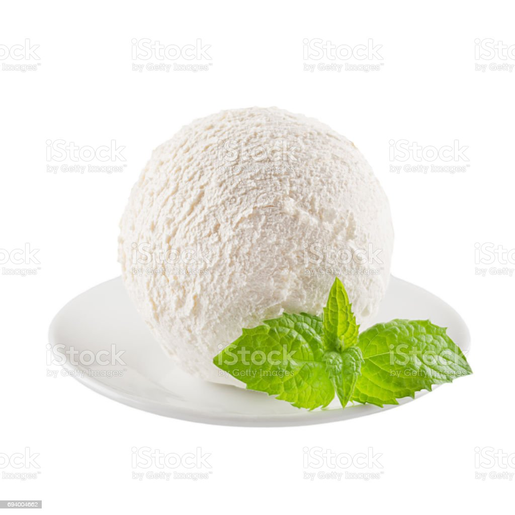 Perfect White Creamy Ice Cream Scoop With Fresh Green Mint On White