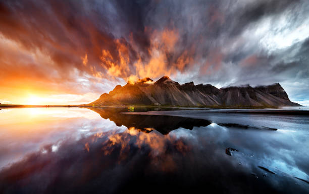 perfect wiev of the sunset behaind vestrahorn mountain - majestic stock photos and pictures