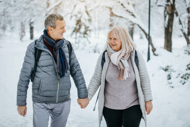 Perfect Winter Walk in The Park stock photo