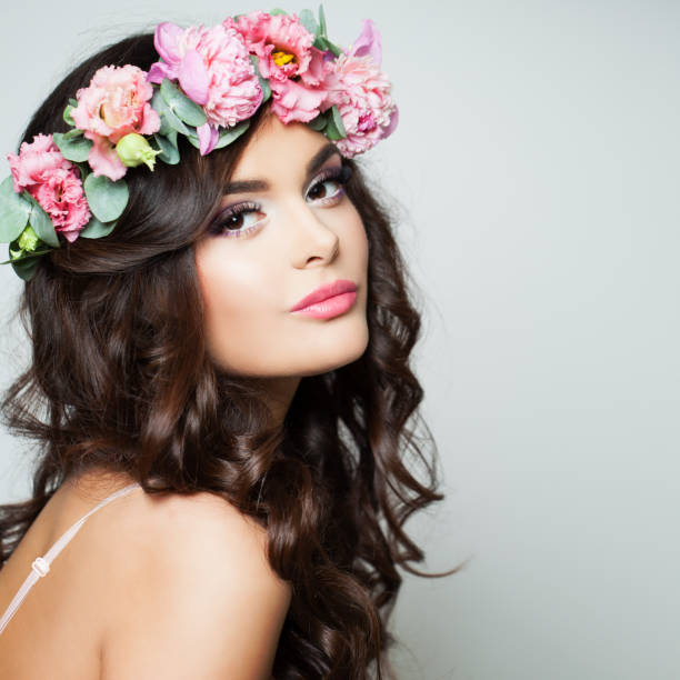 perfect woman fashion model with healthy skin and flowers wreath. spring beauty - spring fashion stock pictures, royalty-free photos & images
