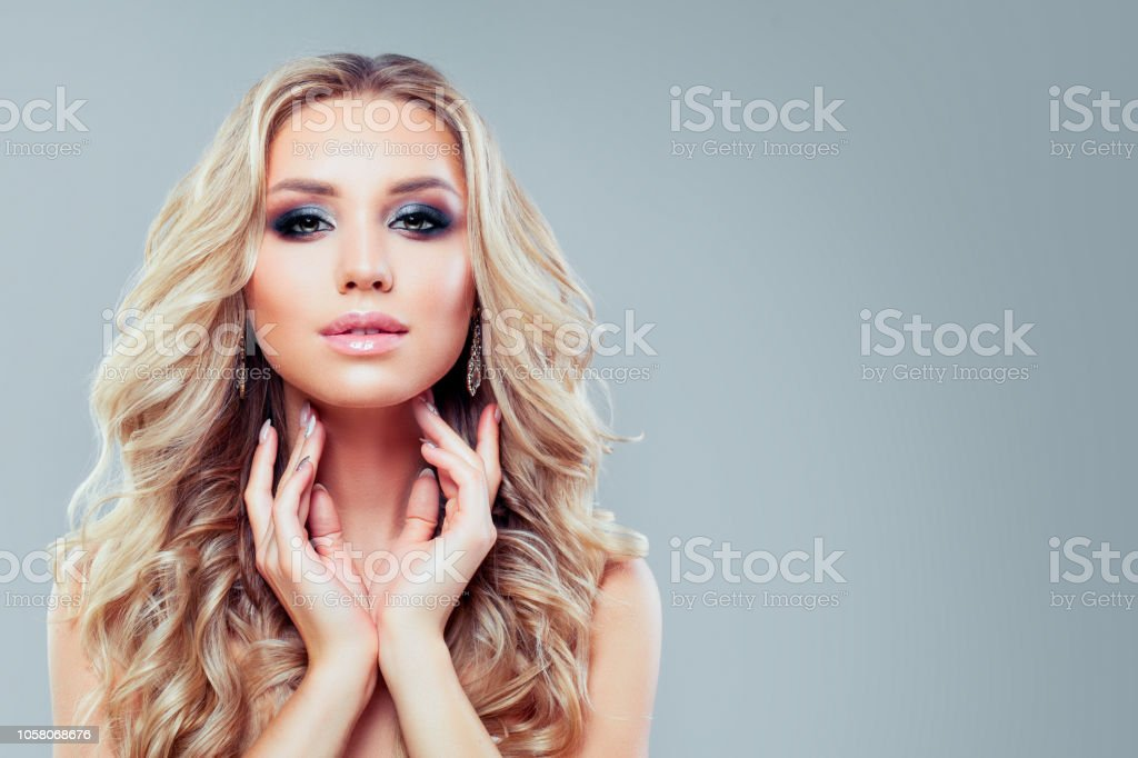 Perfect Woman With Healthy Curly Hair And Makeup On Blue Banner Background Stock Photo Download Image Now Istock