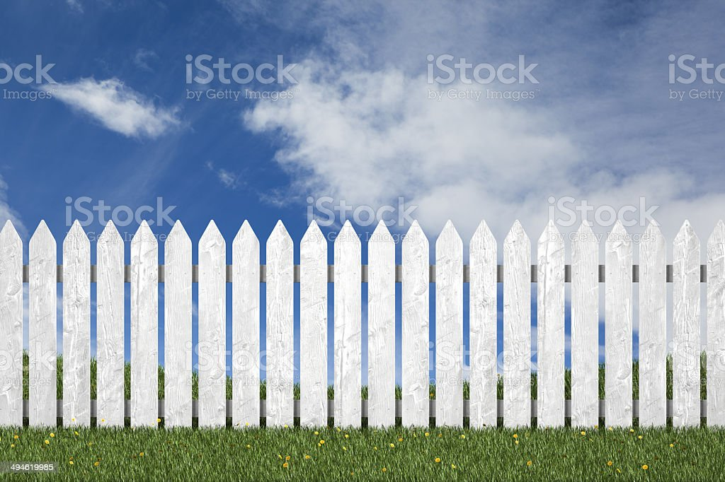 Perfect yard picket fence grass stock photo