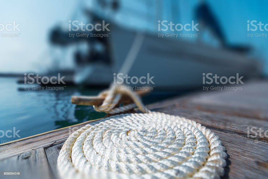 Perfectly coiled rope stock photo