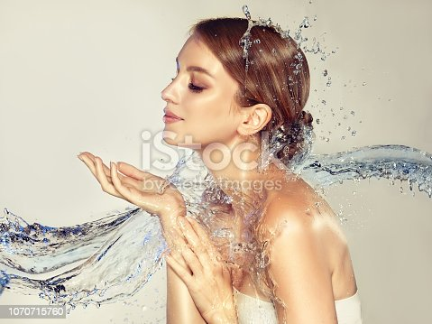istock Perfectly looking model surrounded by  streams of water. Skin hydration and cleaning. 1070715760