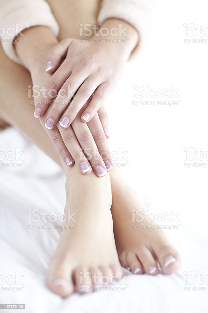 Perfectly manicured fingers and toes royalty-free stock photo