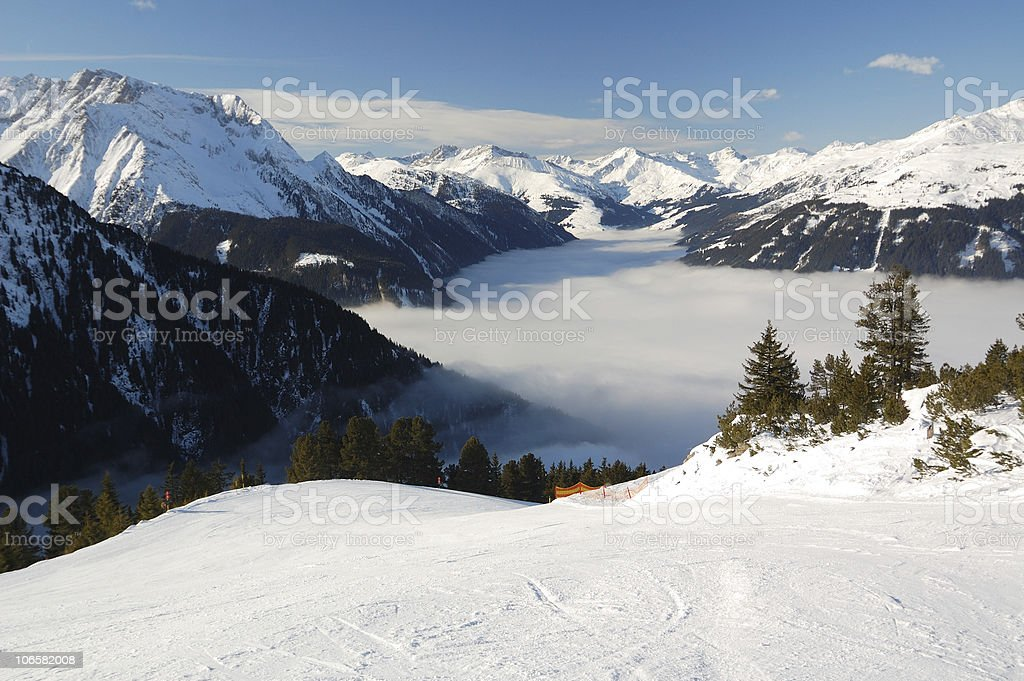 perfectly prepared ski slope royalty-free stock photo