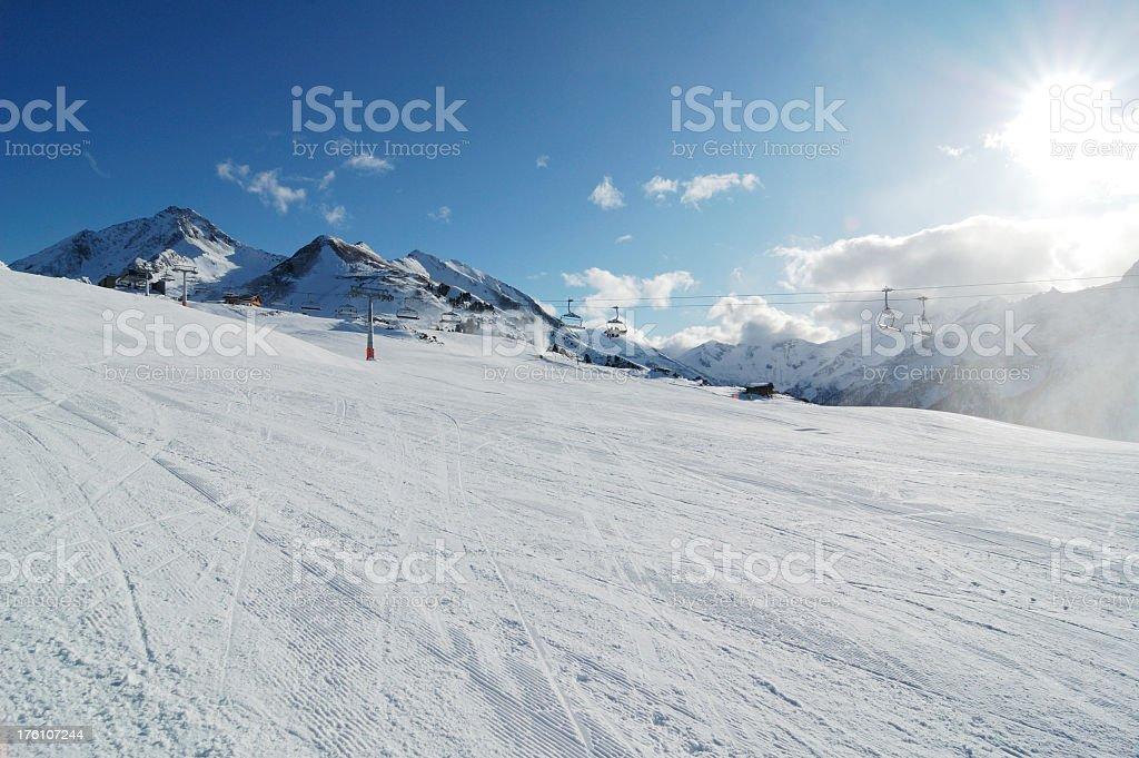 perfectly prepared ski slope royalty-free stock photo