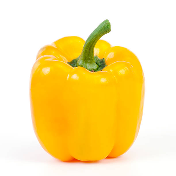 Perfectly ripe sweet yellow bell pepper Sweet pepper on white background. yellow bell pepper stock pictures, royalty-free photos & images