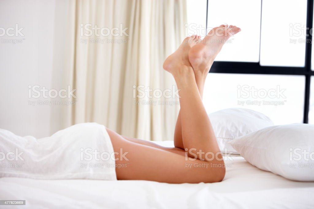 Perfectly smooth and sexy legs stock photo