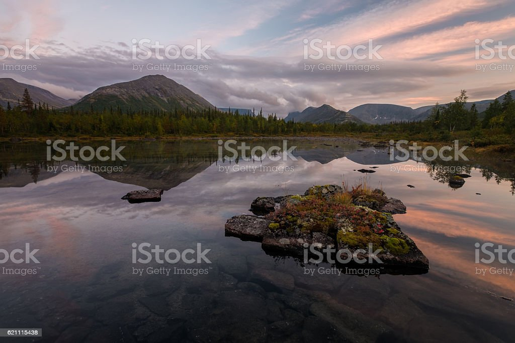 Perfectly smooth surface of the Polygonal lake stock photo