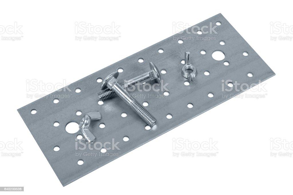 Perforated metal plate furniture screw and nuts stock photo