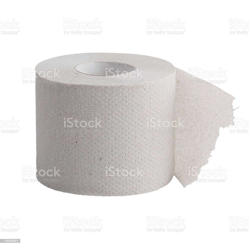 Perforated roll of toilet paper stock photo