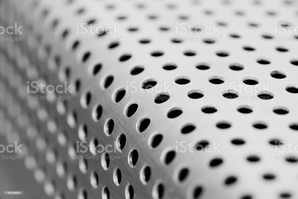 Perforated steel stock photo
