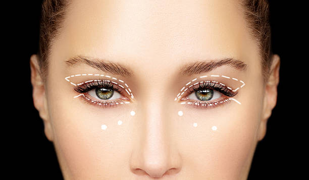 perforation lines on females face, plastic surgery concept. - eyelid stock pictures, royalty-free photos & images