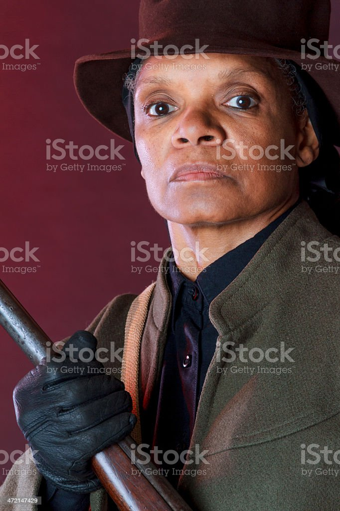 Performance Artist Portraying Harriet Tubman stock photo
