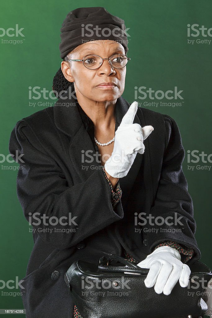Performance Artist Portraying Rosa Parks stock photo