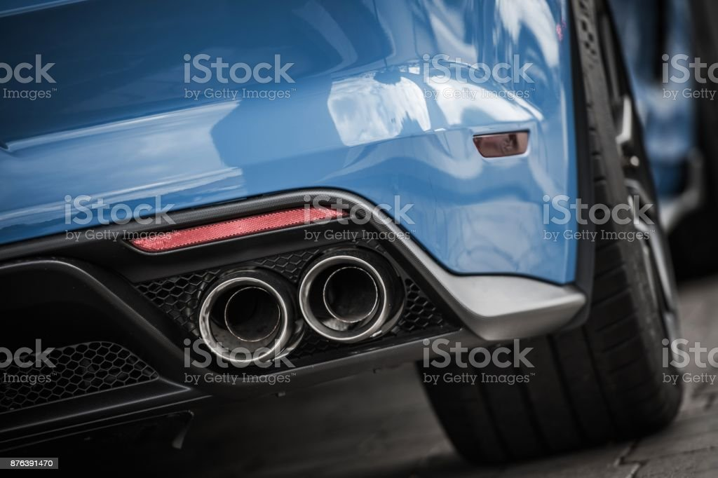 Performance Car Exhaust stock photo