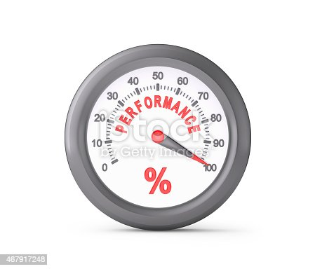 Performance Meter Indicate Maximum , isolated on white , 3d render