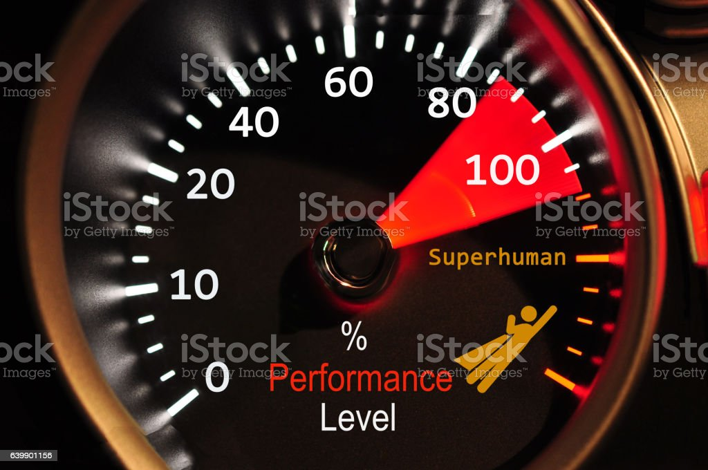 Performance meter showing staff success stock photo