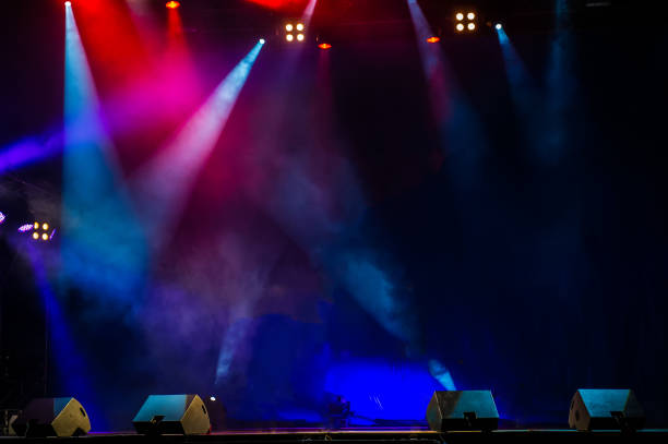 performance moving lighting. concert light show. stage lights. - rock music stock pictures, royalty-free photos & images