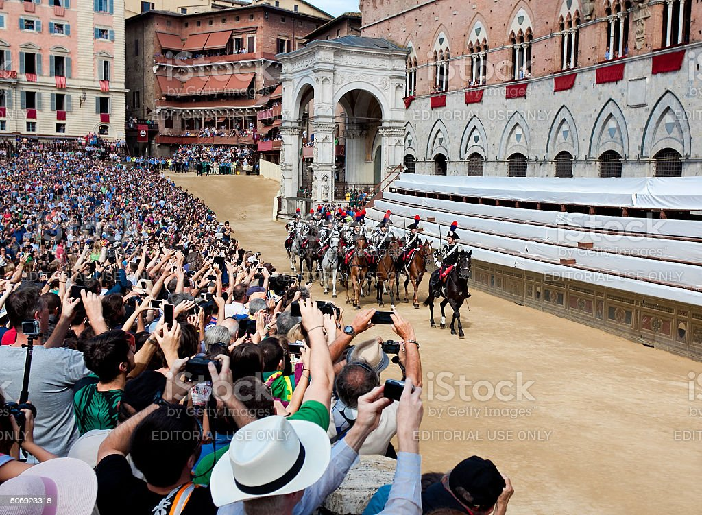 Performance of cavalry on traditional Palio di Siena stock photo