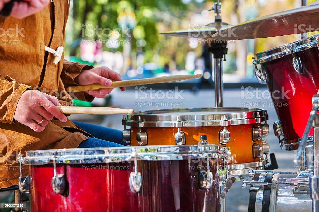 Performance of street musicians stock photo