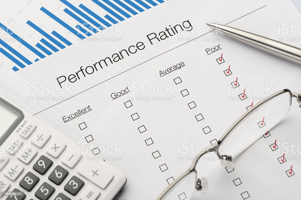Performance rating form on a desk royalty-free stock photo