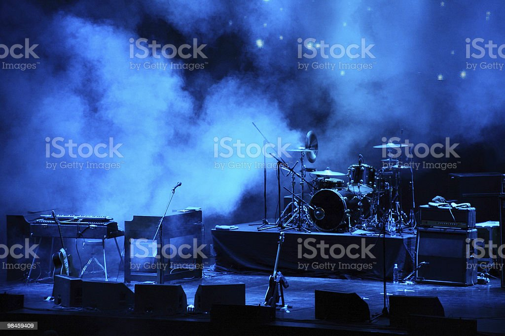 performance stage awaiting for rock band royalty-free stock photo
